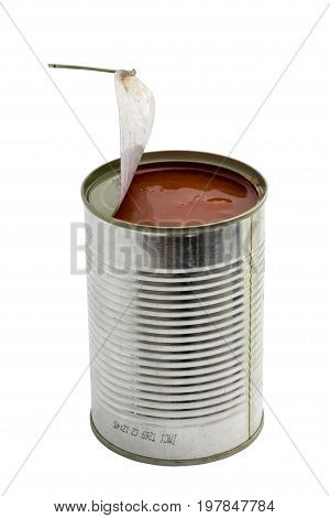 Opened Metal Can With Pieces Of Tomatoes