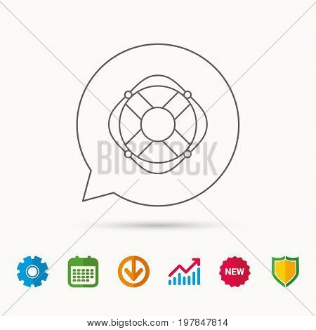Lifebuoy with rope icon. Lifebelt sos sign. Lifesaver help equipment symbol. Calendar, Graph chart and Cogwheel signs. Download and Shield web icons. Vector