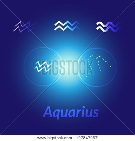 The Water-bearer Aquarius Sing. Star Constellation Element. Age Of Aquarius Constellation Zodiac Sym