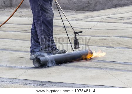 Propane Blowtorch At Floor Slab Insulation Work