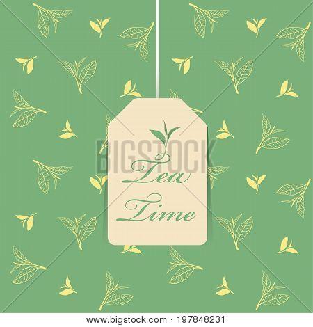 tea time text in Tea bag on green top leaf tea pattern background vector design