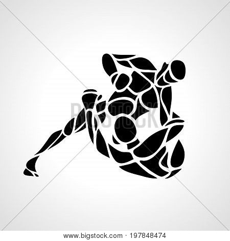 Fighters of martial mixed arts. Sport club emblem. Vector illustration of mixfight combat