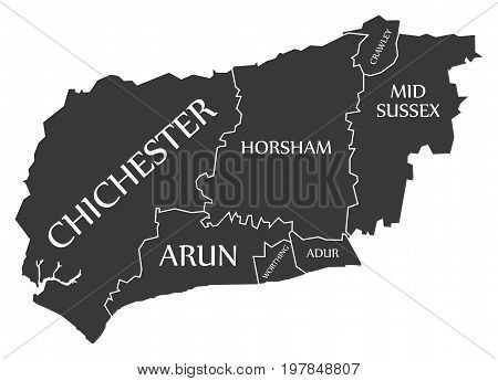 West Sussex County England Uk Black Map With White Labels Illustration