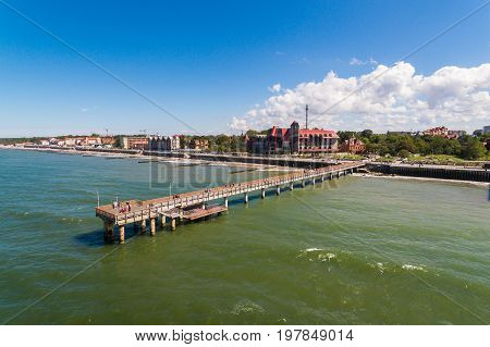 Aerial view of the promenade in Zelenogradsk Russia