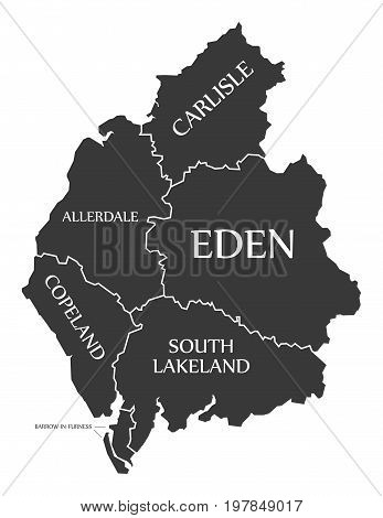 Cumbria County England Uk Black Map With White Labels Illustration