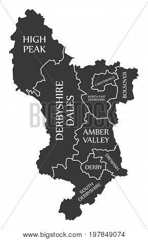 Derbyshire County England Uk Black Map With White Labels Illustration