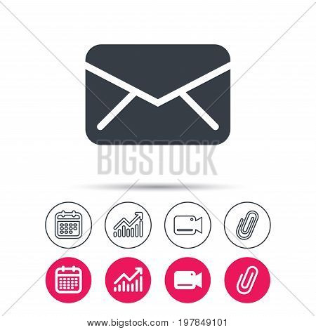 Envelope icon. Send email message sign. Internet mailing symbol. Statistics chart, calendar and video camera signs. Attachment clip web icons. Vector