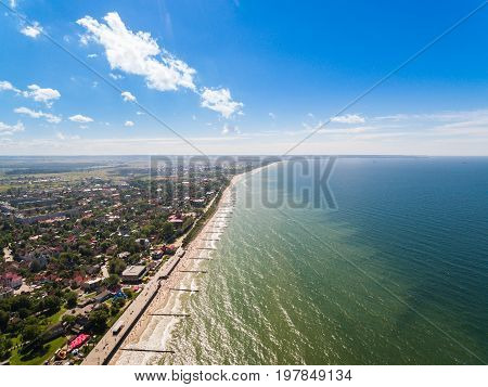 Aerial view of the shore of Zelenogradsk in summer
