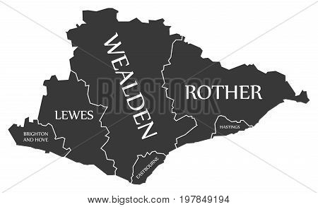 East Sussex County England Uk Black Map With White Labels Illustration