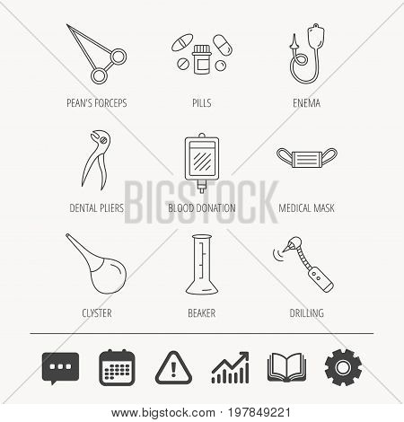 Medical mask, blood and dental pliers icons. Pills, drilling tool and clyster linear signs. Enema, lab beaker and forceps flat line icons. Education book, Graph chart and Chat signs. Vector
