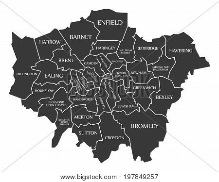 Greater London Administrative Area England Uk Black Map With White Labels Illustration