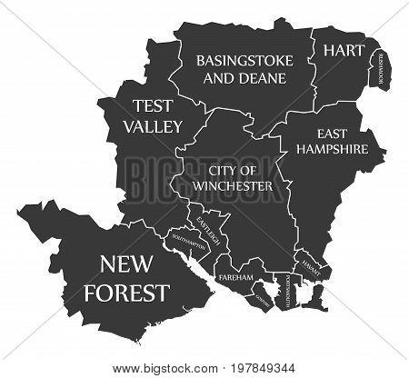 Hampshire County England Uk Black Map With White Labels Illustration