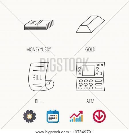 ATM, cash money and bill icons. Gold bar linear sign. Calendar, Graph chart and Cogwheel signs. Download colored web icon. Vector