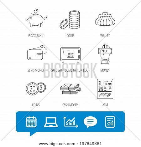 Piggy bank, cash money and wallet icons. Safe box, send money and dollar usd linear signs. Give money, coins and ATM icons. Report file, Graph chart and Chat speech bubble signs. Vector