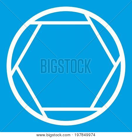 Closed objective icon white isolated on blue background vector illustration