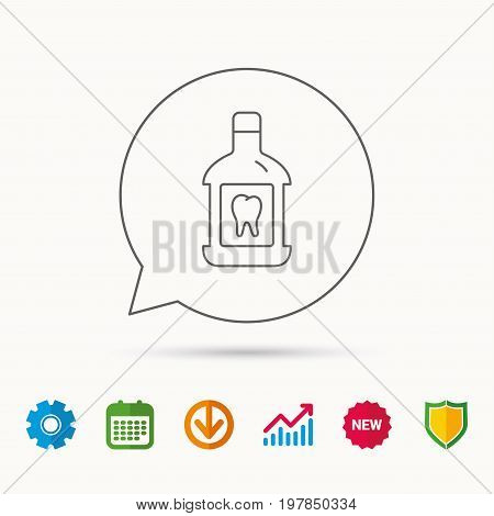 Mouthwash icon. Oral antibacterial liquid sign. Calendar, Graph chart and Cogwheel signs. Download and Shield web icons. Vector