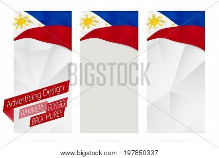 Design Of Banners, Flyers, Brochures With Flag Of Philippines.