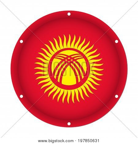 round metallic flag of Kyrgyzstan with six screw holes in front of a white background