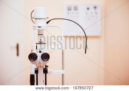 Slit Lamp. Biomicroscope. Binoculars. Ophthalmic Equipment.. Close Up, Selective Focus. Health Care
