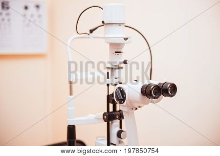 Slit Lamp. Biomicroscope. Binoculars. Ophthalmic Equipment.. Close Up, Selective Focus. Health Care