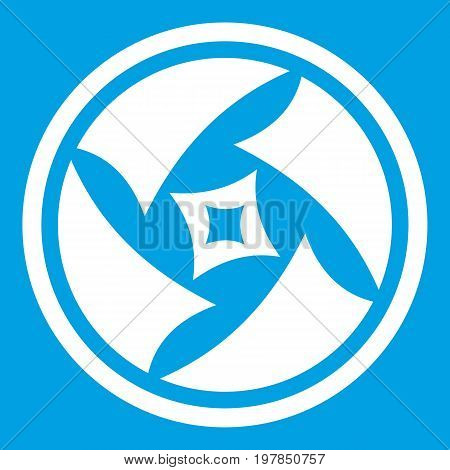 Covered objective icon white isolated on blue background vector illustration