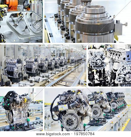 Collage of shots of the assembly line engines and other parts in car factory.