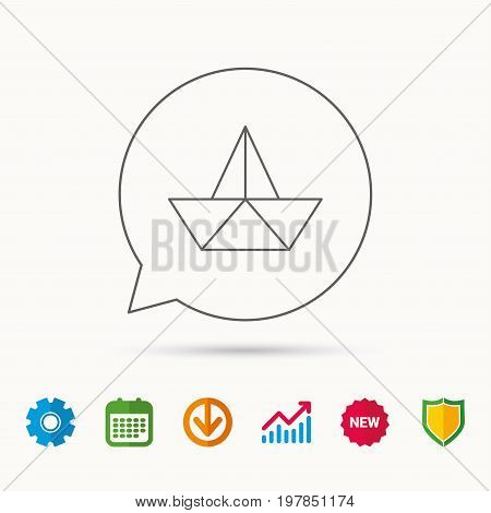 Paper boat icon. Origami ship sign. Sailing symbol. Calendar, Graph chart and Cogwheel signs. Download and Shield web icons. Vector