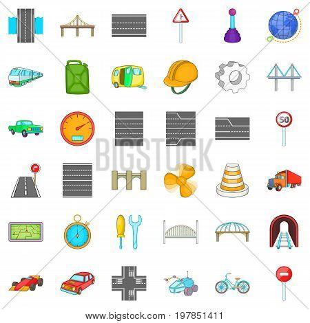 Bridge under tunnel icons set. Cartoon style of 36 bridge under tunnel vector icons for web isolated on white background