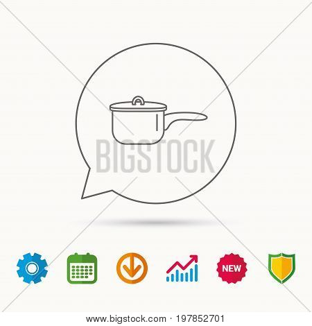 Saucepan icon. Cooking pot or pan sign. Calendar, Graph chart and Cogwheel signs. Download and Shield web icons. Vector