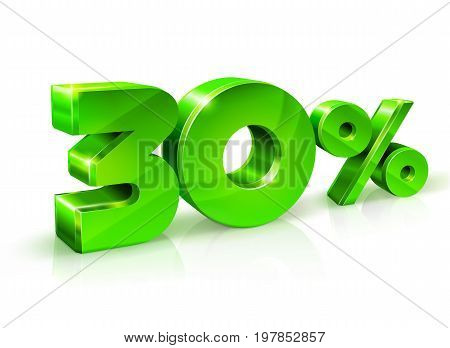 Glossy green 30 Thirty percent off, sale. Isolated on white background, 3D object. Vector illustration.