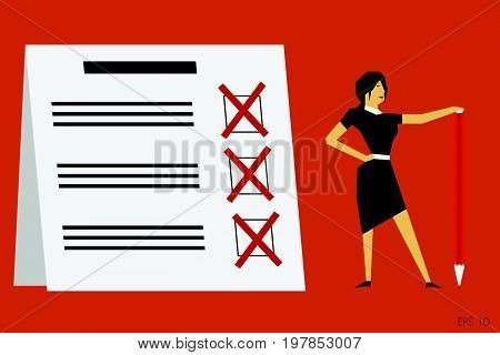 Businesswoman holding a red pencil near at completed checklist on clipboard. Vector illustration.