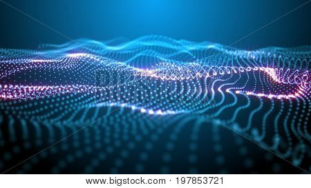 Fantastic structure formed by particles waving. Blue and purple on black. Depth of field settings. 3D rendering