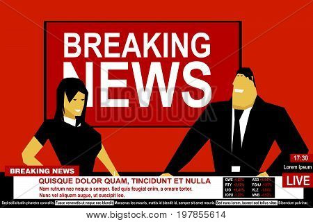 Internet TV breaking news male and female from a studio. Media on television broadcast vector concept.