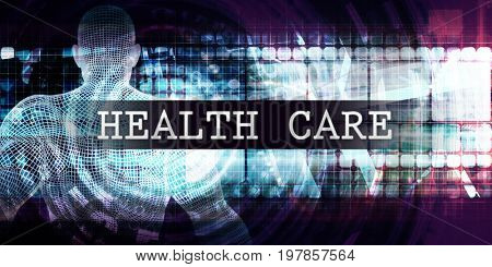 Health care Industry with Futuristic Business Tech Background 3D Illustration Render