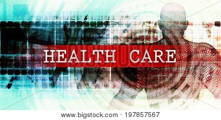Health care Sector with Industrial Tech Concept Art 3D Illustration Render