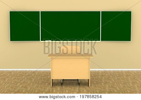 Blackboard with a chalk. 3D illustration