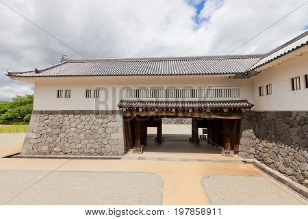 YAMAGATA JAPAN - MAY 28 2017: Reconstructed (1991) Inner Eastern Main Gate of Second Bailey of Yamagata Castle (founded in 1356). National historical site of Japan since 1986