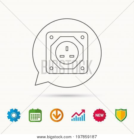 UK socket icon. Electricity power adapter sign. Calendar, Graph chart and Cogwheel signs. Download and Shield web icons. Vector