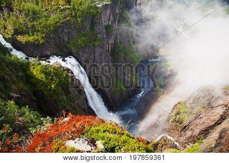 view on Voringfossen waterfall in Hordaland , Norway
