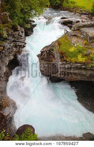 Gudbrandsjuvet ravine with gorge river, Norway