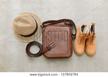 Men' shoes, belt ,bag,hat on gray background