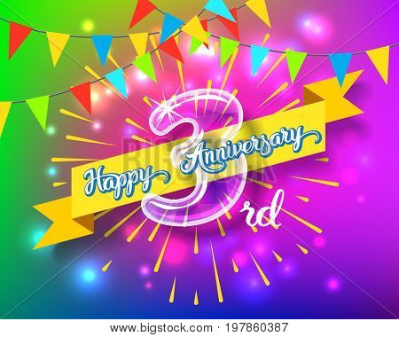 Happy 3rd anniversary. Glass bulb number with ribbon and party decoration on the colorful background