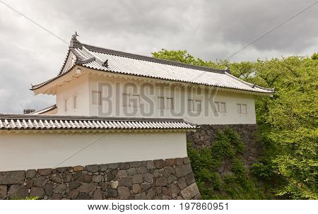 YAMAGATA JAPAN - MAY 28 2017: Reconstructed (1991) Tamonyagura Tower of Eastern Main Gate of Second Bailey of Yamagata Castle (founded in 1356). National historical site of Japan since 1986