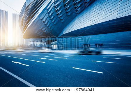 modern architecture with blurred motion traffic in tianjin city,china.