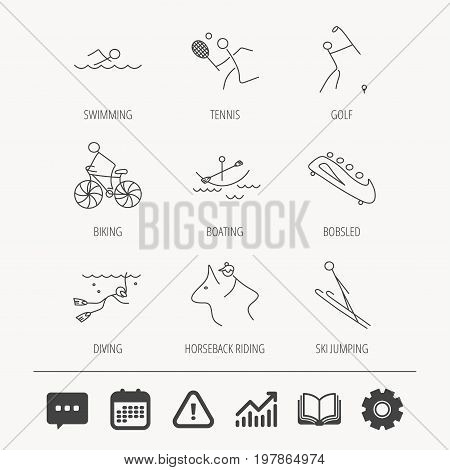 Swimming, tennis and golf icons. Biking, diving and horseback riding linear signs. Ski jumping, boating and bobsleigh icons. Education book, Graph chart and Chat signs. Vector