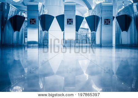 Entrance of railway station\subway,blue toned.