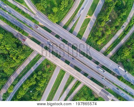 Aerial view road beautiful street roundaboutTop view Background Thailand