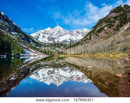 Maroon Bells peak at Maroon Lake, Aspen, Colorado