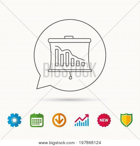 Statistic icon. Presentation board sign. Defaulted chart symbol. Calendar, Graph chart and Cogwheel signs. Download and Shield web icons. Vector