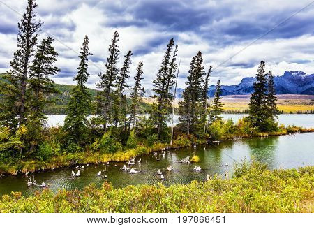 Lush clouds are reflected in the smooth water. The valley along the Pocahontas road. Concept of active and ecological tourism. Shallow-water lakes, picturesque firs and mountains